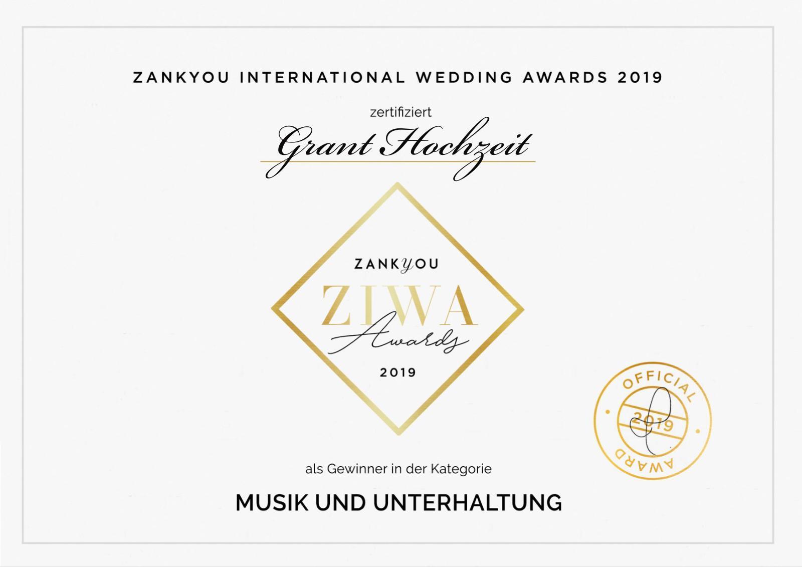 Grant Hochzeit hat den Ziwa Award 2019 im der Kategorie Musik und Unterhaltung gewonnen.